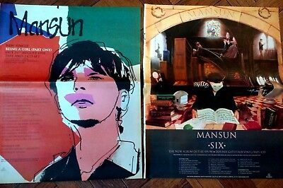 MANSUN - 2 x Full Page NME Magazine Adverts 1998 - Six / Being a Girl - RARE!
