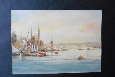 FRENCH SCHOOL LATE 19thC - FINE WATERCOLOR - CITYSCAPE OF ISTANBUL