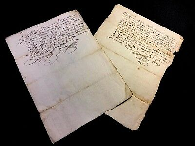 LOT OF TWO MANUSCRIPTS 1600s