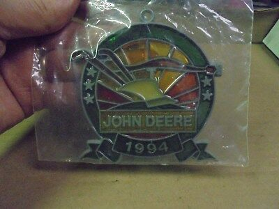 Vintage 1994 John Deere Stained Glass Ornament