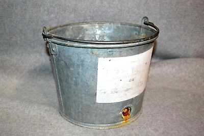 Vtg H Behrans Galvanized Cow Calf Milk Feeding Bucket Pail Dairy Farm Orig Label