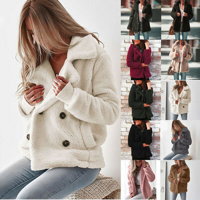 Womens Faux Fur Plush Long Sleeve Coat Ladies Solid Winter Thick Jacket Cardigan