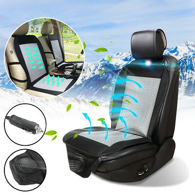 Cooling Car Seat Cover Cushion Summer Cooler Pad Wind Chair Black 12V