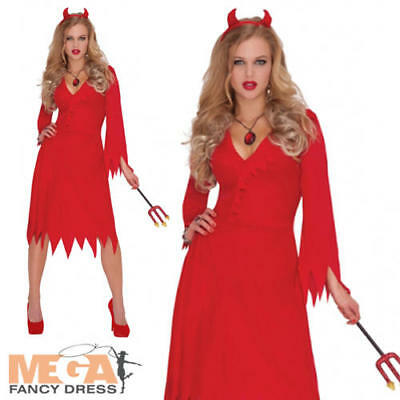 Red Hot Devil Ladies Fancy Dress Halloween Demon Adults Womens Costume Outfit