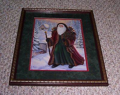 "Home Interiors Homco Victorian Santa 15"" X 12"" Matted Framed Holiday Picture"