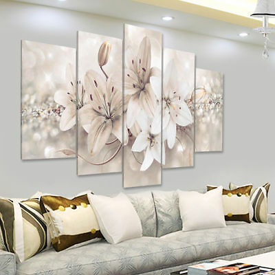 5 Panels Modern Abstract Flowers Print Pictures Canvas Wall Art Prints Unframed