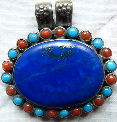 Vintage/antique sterling silver lapis lazuli pendant with turquoise and coral
