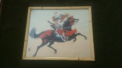 Vintage Oriental Japanese Samurai Horseback Original Painting On Silk Signed