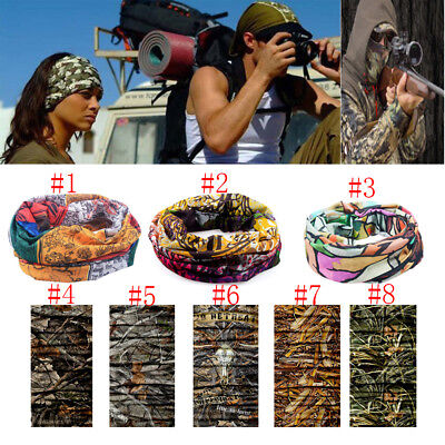 Forest Camouflage Tube Head Face Mask Neck Gaiter Wrap Snood Scarf Hunting New