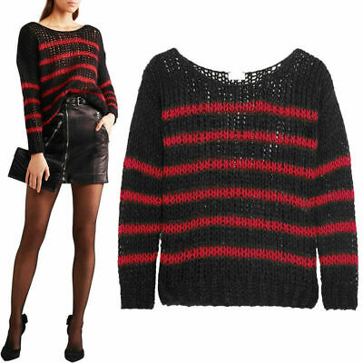 23ee91e342 S NEW  985 SAINT LAURENT Black Red WOOL KNIT Striped OVERSIZE Spring SWEATER  TOP