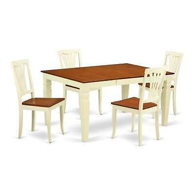 WEAV-BMK-W  5 to 7 Pc  table set with a Dining Table and 4 Wood Chairs
