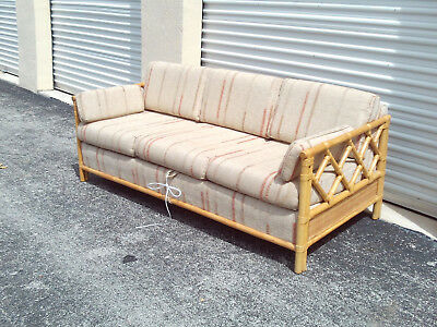 Vintage Mid Century Chinese Chippendale Tweed Pull Out Couch