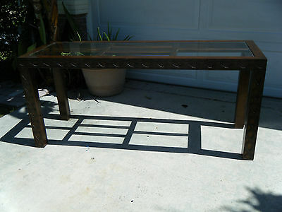 Vintage Mid Century Modern Chinese Chippendale Fret Work Console Table