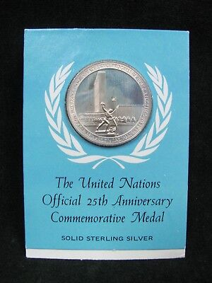 United Nations Official 25th Anniversary Commemorative Sterling Silver Medal
