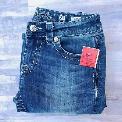 Miss Me Jeans Boot Cut Women's 27 Floral Pockets Signature Rise Bling NEW NWT