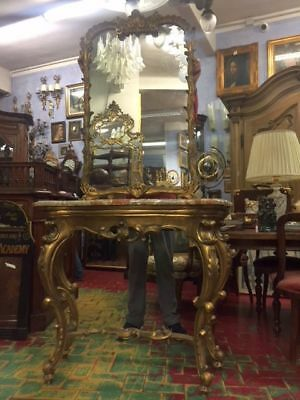 Wonderful Antique Console Table Wooden Golden With Marble With Great Mirror