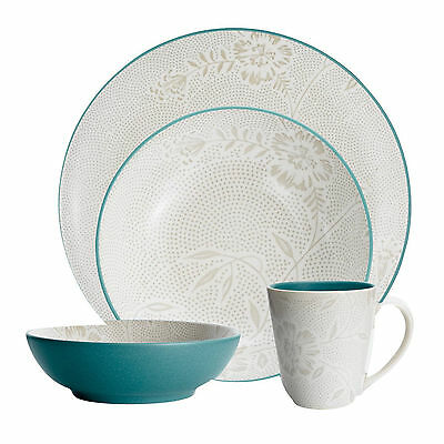 NIB~Noritake Colorwave Turquoise Bloom 4-Piece Place Setting for 'ONE'-ship free