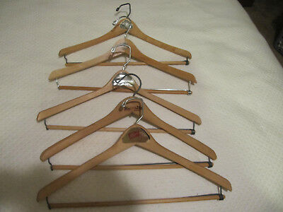 5 Wooden Suit Coat Shirt Dress Pants Hangers Metal Wood Vintage Advertising