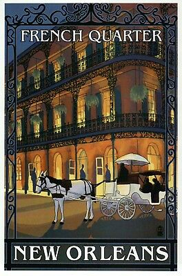 French Quarter New Orleans Louisiana, Horse Carriage at Night, NO LA -- Postcard