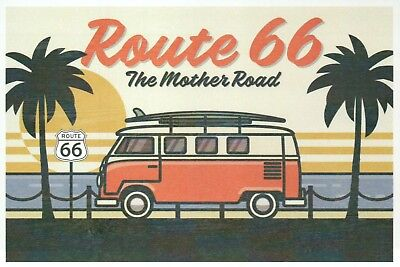Route 66 The Mother Road Camper Van Beach Scene, Palm Trees Surfboard - Postcard