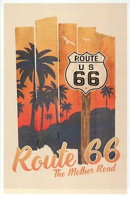 Route 66 The Mother Road, Palm Tree Sunset Birds Road Sign IL to CA etc Postcard