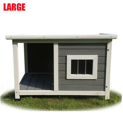 Wooden Pet Dog Kennel Timber House Cabin Wood Log Box With Awning 1360cm
