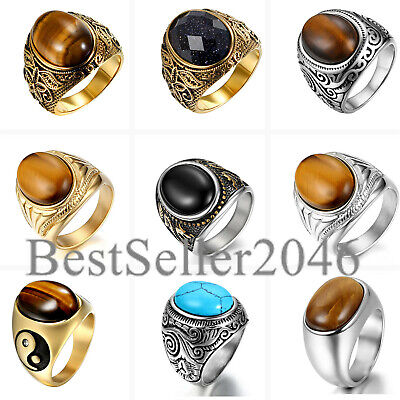 Mens Vintage Stainless Steel Oval Tiger Eye Stone Engagement Wedding Ring 7-13