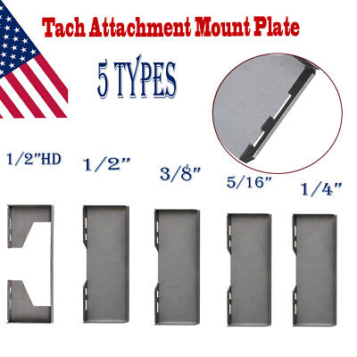 """1/4"""" 5/16"""" 3/8"""" 1/2""""HD Thick Quick Tach Attachment Mount Plate Skid Steer Loader"""