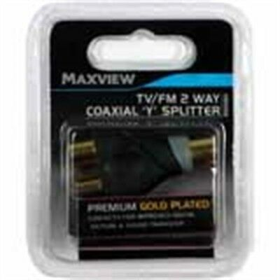 Tv Fm Dab 2 Way Coaxial Y Splitter - Maxview Black Premium Gold Plated