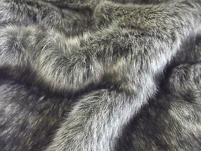 Super Luxury Faux Fur Fabric Material - CHARCOAL GREY WOLF