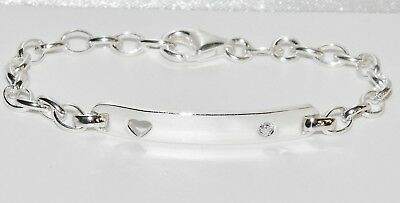 NEW Sterling Silver Baby ID Bracelet - Name Plate - 5.5 INCH - Stone Set Heart