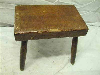 Early Primitive Wooden Milking/Foot Stool Bench Rest Farm Country Butcher Block