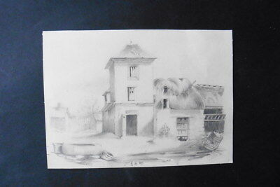 French School 1849 - The Old Farmhouse - Pencil Drawing