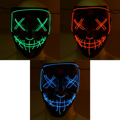 LED Luminous Mask Flashing Scary Smilling Face for Halloween Cosplay Dance Party