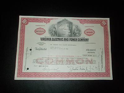 Aktie Stock Cerrtificate Virginia Electric and Power Company 1972