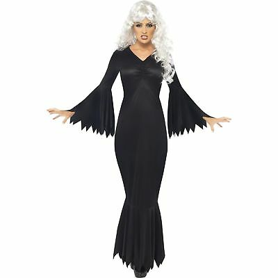 Ladies Morticia Costume Immortal Soul Vampire Outfit Witch Fancy Dress Halloween