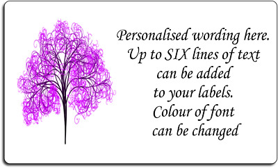 Purple Scribble Tree Art Personalised Labels with FREE protective wallet