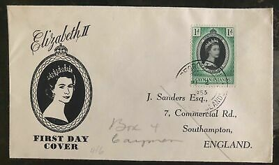 1953 Cayman Islands  First day Coronation cover FDC Queen Elizabeth II QE2 To Uk