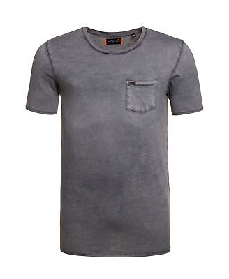 New Mens Superdry Factory Second Destroy Longline T-shirt Washed Navy