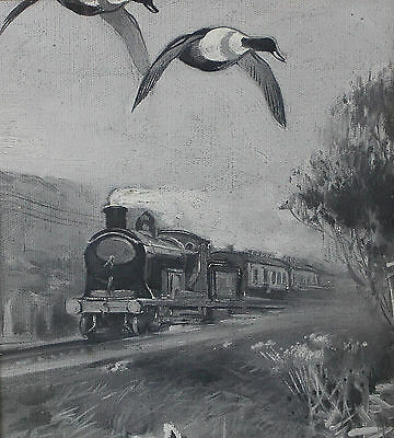Frank Southgate Sandringham Estate Oil Painting Stream Train Ducks