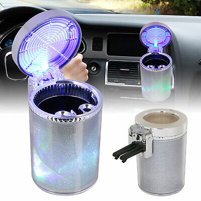 Portable Car Travel Cigarette Cylinder Ashtray Holder Cup w/ Colorful LED Light