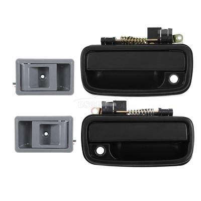 4 Black Outside & Gray Inner Front LH RH Door Handle For 95-00 Toyota Tacoma