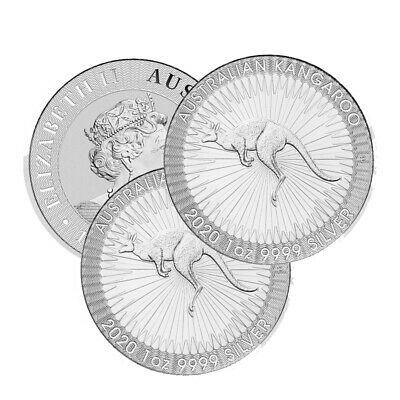 Lot of 3 Silver 2019 $1 Australia 1 Troy Oz .9999 Fine Perth Kangaroo Coins