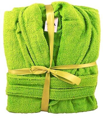 Lime Green Bath robe Dressing Gown 100% Cotton Terry Towelling Medium Unisex b9ef3d5e2