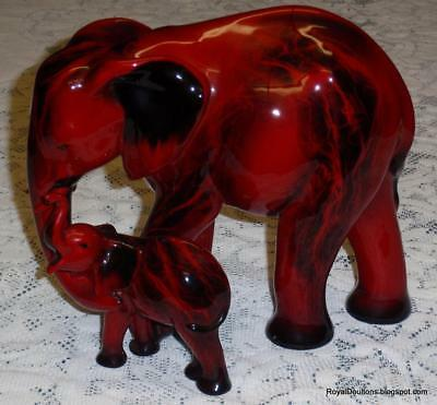 "Images Of Fire ""Motherhood"" Royal Doulton Flambe Elephant & Calf Figurine HN3464"