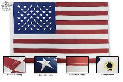 USA American Flag 5x8ft Embroidered Durable High Quality Stitched Ends