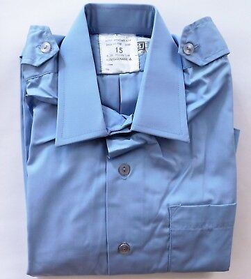 Vintage RAF uniform shirt 1970s air force clothing Moody blue UNUSED size 15