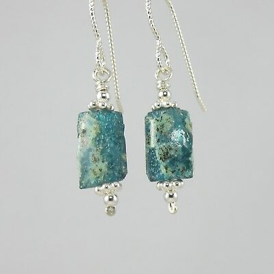lovely petite blue green teal ancient Roman glass and sterling silver earrings