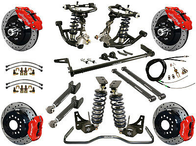 """Ridetech Coilover,arm System & Wilwood Disc Brake Kit,13""""/12"""" Drilled,red,68-72"""