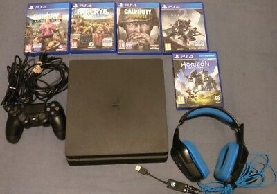 8b00aa926dd Sony PlayStation 4 PS4 Slim 500GB WITH LOGITECH G430 HEADSET AND 5 GAMES